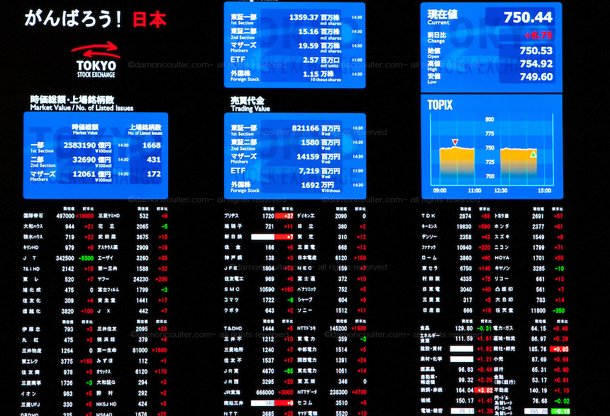 Computer and TV screens list share and stock prices at the Tokyo Stock Exchange, Nihonbashi, Tokyo, Thursday, September 15th 2011. Established on May 15th 1878 the Tokyo Stock Exchange was one of the first stock exchanges in the world to fully computerize trading and now deals with over 700 trillion Yens worth of stock transaction annually, representing over 90 percent of all share dealings in the country.