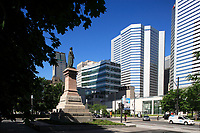 Montreal (Qc) Canada - June 23 2009 -  Victoria Square statue of Queen Victoria.facing banque Nationale headquarter