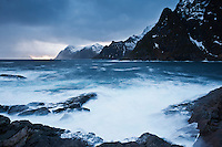 Dramatic coastal scenery, Å I Lofoten, Lofoten Islands, Norway