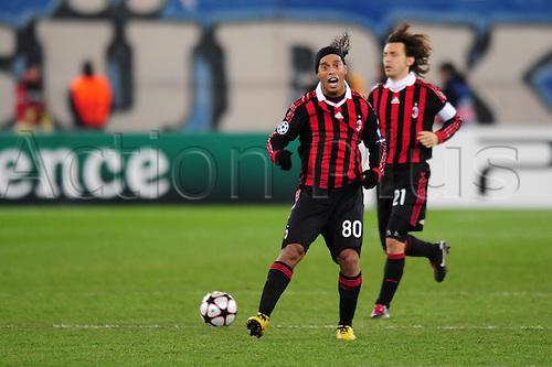 8 December, 2009 - Ronaldinho celebrates after a goal during UEFA Champions League qualifiers at Stadion Letzigrund in Zurich, Switzerland.  At the end of the match it was tied 1-1 but AC Milan will advance to the next round. Photo by John C Middlebrook/actionplus. UK Licenses Only