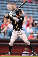 Omaha Storm Chasers outfielder Paulo Orlando (16) at bat during a game against the Nashville Sounds on May 19, 2014 at Herschel Greer Stadium in Nashville, Tennessee.  Nashville defeated Omaha 5-4.  (Mike Janes/Four Seam Images)