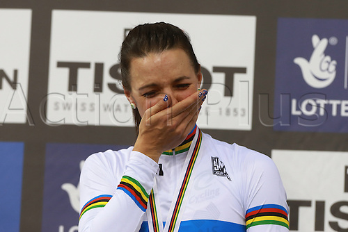 02.03.2016. Lee Valley Velo Centre, London, England. UCI Track Cycling World Championships Womens Individual Pursuit.  Rebecca Wiasak (AUS) emotional as she takes gold