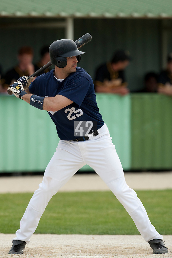 21 May 2009: Jerome Rousseau is seen at bat during the 2009 challenge de France, a tournament with the best French baseball teams - all eight elite league clubs - to determine a spot in the European Cup next year, at Montpellier, France.