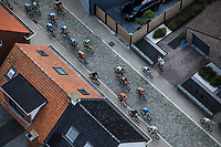 Chasing group over the cobbles. <br /> <br /> Antwerp Port Epic 2018 (formerly &quot;Schaal Sels&quot;)<br /> One Day Race: Antwerp &gt; Antwerp (207km of which 32km are cobbles &amp; 30km is gravel/off-road!)