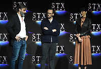 LAS VEGAS, NV - APRIL 24: (L-R) Director Baltasar Kormakur, actors Sam Claflin, and Shailene Woodley onstage during the STX Films presentation at CinemaCon 2018 at The Colosseum at Caesars Palace on April 24, 2018 in Las Vegas, Nevada. (Photo by Frank Micelotta/PictureGroup)