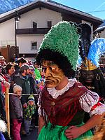 Sackner beim Aufzug der Masken beim Nassereither Schellerlauf, Fasnacht in Nassereith, Bezirk Imst, Tirol, &Ouml;sterreich, Europa, immaterielles UNESCO Weltkulturerbe<br /> Sackner at the gathering of the masks, Nassereither Schellerlauf-Fasnacht, Nassereith, Tyrol, Austria Europe, Intangible World Heritage