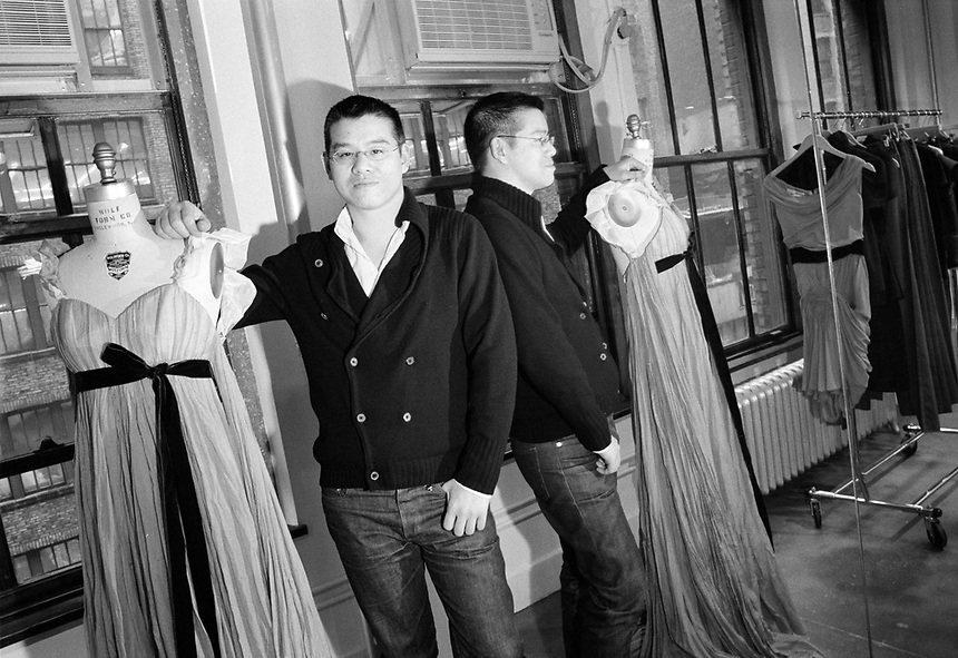 fashion designer Peter Som in his NYC design studio, 2007