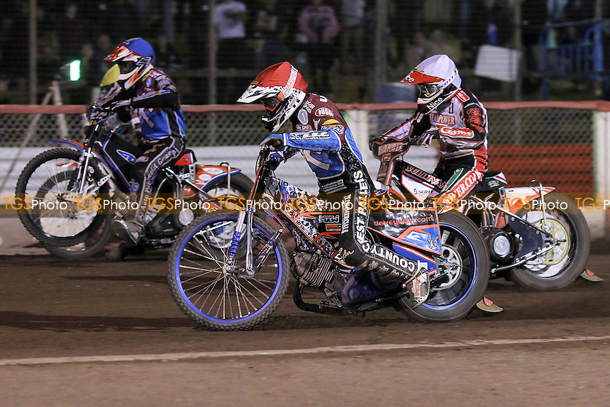 Heat 13: Davey Watt (red), Ryan Sullivan (white), Peter Karlsson (red) and Krzysztof Buczkowski - Lakeside Hammers vs Peterborough Panthers - Sky Sports Elite League Speedway at Arena Essex Raceway, Purfleet - 14/09/12 - MANDATORY CREDIT: Gavin Ellis/TGSPHOTO - Self billing applies where appropriate - 0845 094 6026 - contact@tgsphoto.co.uk - NO UNPAID USE.