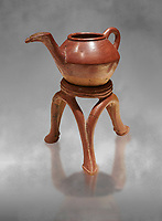 Terra cotta Hittite beaker shaped side spouted teapot and three legged stand - 1700 BC to 1500BC - Kültepe Kanesh - Museum of Anatolian Civilisations, Ankara, Turkey