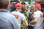 Warren Barguil (FRA) Team Sunweb distraught after being initially told he'd won the stage only to be informed he finished 2nd after a photo finish at the end of Stage 9 of the 104th edition of the Tour de France 2017, running 181.5km from Nantua to Chambery, France. 9th July 2017.<br /> Picture: ASO/Thomas Maheux | Cyclefile<br /> <br /> <br /> All photos usage must carry mandatory copyright credit (&copy; Cyclefile | ASO/Thomas Maheux)