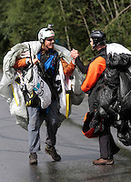 Neil Amunson (left) is congratuilated by another BASE jumper following a race. World BASE Race held in Innfjorden, Norway, where BASE jumpers in wingsuits compete in flying down the mountain. The winner is called the World's Fastest Flying Human Being..©Fredrik Naumann/Felix Features.
