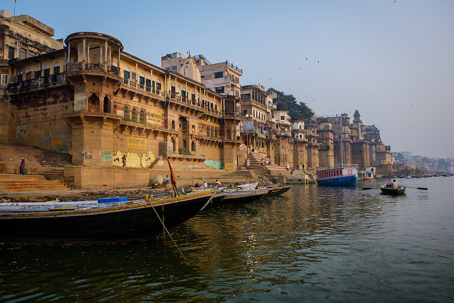 VARANASI, INDIA - CIRCA NOVEMBER 2016: Digpatiya Ghat in the Ganges river early morning. The city of Varanasi is the spiritual capital of India, it is the holiest of the seven sacred cities in Hinduism and Jainism. The Ganges is also considered a sacred river.