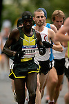 Jason Lehmkuhle (white tank) competes in the 2008 Men's Olympic Trials Marathon on November 3, 2007 in New York, New York.  The race began at 50th Street and Fifth Avenue and finished in Central Park.  Ryan Hall won the race with a time of 2:09:02.
