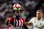 Toni Kroos of Real Madrid (R) fights for the ball with Thomas Teye of Atletico de Madrid (L) during their La Liga  2018-19 match between Real Madrid CF and Atletico de Madrid at Santiago Bernabeu on September 29 2018 in Madrid, Spain. Photo by Diego Souto / Power Sport Images