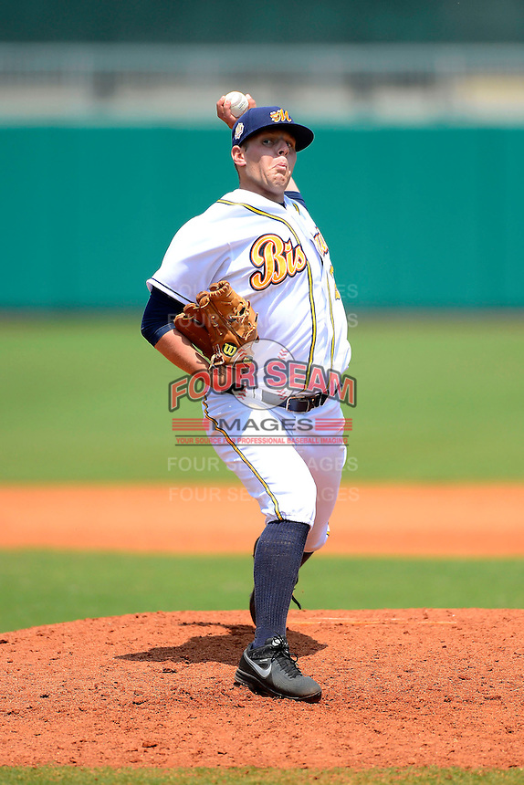 Montgomery Biscuits pitcher C.J. Riefenhauser #20 during a game against the Mobile BayBears on April 16, 2013 at Riverwalk Stadium in Montgomery, Alabama.  Montgomery defeated Mobile 9-3.  (Mike Janes/Four Seam Images)