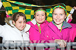 Cheering on the Kerry ladies were l-r: Shania O'Sullivan, Órlaith Reynolds and Vicky Halliday Killorglin at the Kerry team homecoming in Killorglin on Monday evening.
