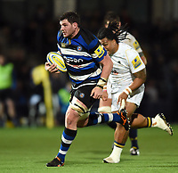 James Phillips of Bath Rugby goes on the attack. Aviva Premiership match, between Worcester Warriors and Bath Rugby on January 5, 2018 at Sixways Stadium in Worcester, England. Photo by: Patrick Khachfe / Onside Images