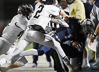 NWA Democrat-Gazette/CHARLIE KAIJO Bentonville West running back Luke Miller (1) carries the ball, Friday, November 8, 2019 during a football game at Bentonville West High School in Centerton.