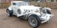 BNPS.co.uk (01202 558833)<br /> Pic: Mathewsons/BNPS<br /> <br /> Styling fit for a superstar...<br /> <br /> A flamboyant convertible sports car that belonged to legendary singer Roy Orbison has emerged for sale for £20,000.<br /> <br /> The white Excalibur Roadster dates back to 1970 and was bought from new by the Pretty Woman performer.<br /> <br /> He kept it for several years before his death in 1988 and it was bought by a British buyer three years later in 1991.<br /> <br /> It has since found its way to Britain and is now set to go under the hammer with auctioneers Mathewsons of Pickering, North Yorks.