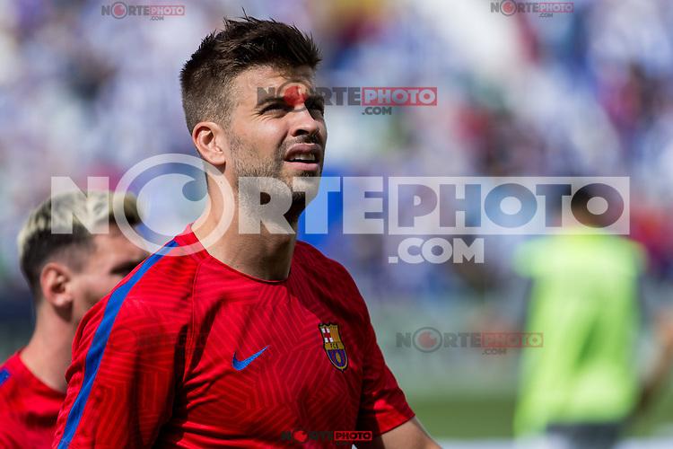 FC Barcelona's Gerard Pique during the match of La Liga between Club Deportivo Leganes and Futbol Club Barcelona at Butarque Estadium in Leganes. September 17, 2016. (ALTERPHOTOS/Rodrigo Jimenez) /NORTEPHOTO