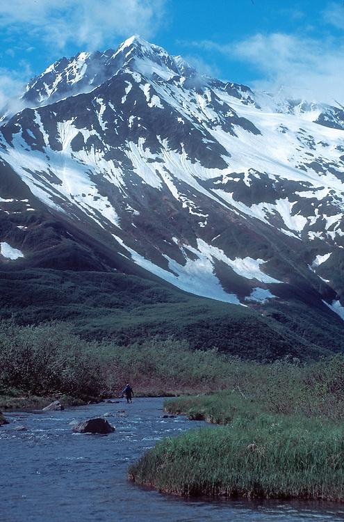 Alaska, Kenai Fjords National Park, hiker ascends stream toward Kenai Mountains,..