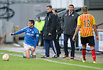 Partick Thistle v St Johnstone....25.10.14   SPFL<br /> Frustrated Brian Graham and Tommy Wright after Brian Graham is fouled again<br /> Picture by Graeme Hart.<br /> Copyright Perthshire Picture Agency<br /> Tel: 01738 623350  Mobile: 07990 594431