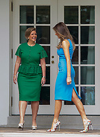 Lorena Castillo, wife of President Juan Carlos Varela's of Panama, and first lady Melania Trump stand outside the Oval Office after the arrival of President Varela and Lorena Castillo, at the White House in Washington, DC on June 19, 2017.<br /> Credit: Molly Riley / CNP /MediaPunch