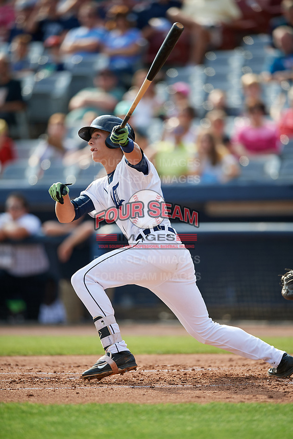 Connecticut Tigers right fielder Ulrich Bojarski (26) follows through on a swing during a game against the Lowell Spinners on August 26, 2018 at Dodd Stadium in Norwich, Connecticut.  Connecticut defeated Lowell 11-3.  (Mike Janes/Four Seam Images)