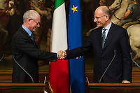 Herman Van Rompuy, Enrico Letta <br /> Roma 04-12-2013 Palazzo Chigi <br /> Meeting beetween Italian Prime Minister and European Council President . <br /> Incontro tra il Primo Ministro italiano e il Presidente del Consiglio della UE Unione Europea . <br /> Foto Andrea Staccioli / Insidefoto