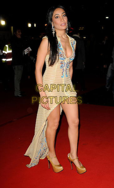 "SOFIA HAYAT.UK Premiere of ""Chandni Chowk to China"" at the Empire, Leicester Square, London, England, January 12th 2009.full length turquoise pattern trim yellow cream tight mini dress cleavage train long beige brown platform mary jane shoes low cut .CAP/CAN.©Can Nguyen/Capital Pictures"