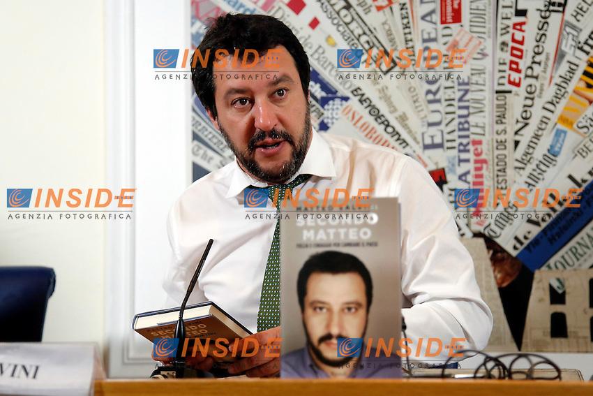 Matteo Salvini<br /> Roma 04-05-2016 Stampa Estera. Presentazione del libro 'Secondo Matteo'.<br /> Foreign Press. Presentation of the book 'Secondo Matteo'<br /> Photo Samantha Zucchi Insidefoto