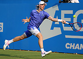 June 19th 2017, Queens Club, West Kensington, London; Aegon Tennis Championships, Day 1; Denis Shapovalov of Canada plays a volley versus Kyle Edmund of Great Britain