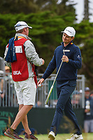 Justin Rose (GBR) after sinking his putt on 3 during round 4 of the 2019 US Open, Pebble Beach Golf Links, Monterrey, California, USA. 6/16/2019.<br /> Picture: Golffile | Ken Murray<br /> <br /> All photo usage must carry mandatory copyright credit (© Golffile | Ken Murray)