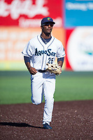 Everett AquaSox center fielder Josh Stowers (25) jogs off the field between innings of a Northwest League game against the Tri-City Dust Devils at Everett Memorial Stadium on September 3, 2018 in Everett, Washington. The Everett AquaSox defeated the Tri-City Dust Devils by a score of 8-3. (Zachary Lucy/Four Seam Images)