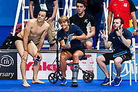 Picture by Rogan Thomson/SWpix.com - 16/07/2017 - Diving - Fina World Championships 2017 -  Duna Arena, Budapest, Hungary - Tom Daley and coaches Jane Figueiredo and Mark Holdsworth of Great Britain look on during practice.