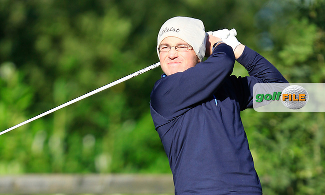 Conor Deegan (Dun Laoghaire G.C) on the 1st tee during Round 1 of The Cassidy Golf 103rd Irish PGA Championship in Roganstown Golf Club on Thursday 10th October 2013.<br /> Picture:  Thos Caffrey / www.golffile.ie