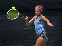 NWA Democrat-Gazette/BEN GOFF @NWABENGOFF<br /> Erica Jaggernauth of Rogers competes Sunday, July 16, 2017, in the girls 16 singles final during the Serena Smith State Farm Junior Open State tennis tournament at the Memorial Park tennis courts in Bentonville. Jaggernauth lost to Yasmine Humbert of Bentonville in the match.