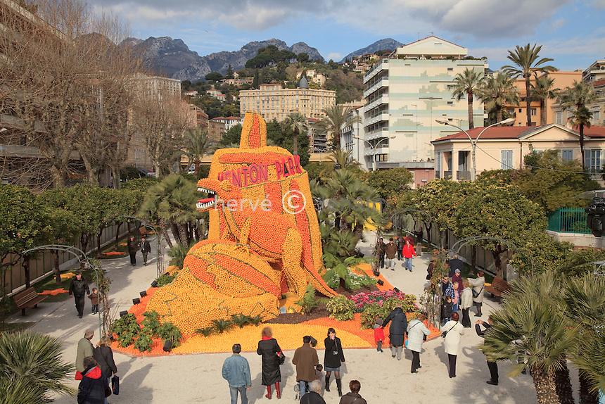 """France, Alpes-Maritimes (06), Menton, la 77ème fête du Citron sur le thème """"Menton fait son cinéma"""", les jardins Bioves  // France, Alpes-Maritimes, Menton, the 77th Lemon Festival on the theme, Menton at the cinema, here in the gardens Bioves"""
