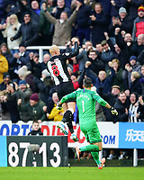 30th November 2019; St James Park, Newcastle, Tyne and Wear, England; English Premier League Football, Newcastle United versus Manchester City; Jonjo Shelvey of Newcastle United punches the air to celebrate equalising in the 88th minute to make it 2-2 with Martin Dubravka of Newcastle United running to join him - Strictly Editorial Use Only. No use with unauthorized audio, video, data, fixture lists, club/league logos or 'live' services. Online in-match use limited to 120 images, no video emulation. No use in betting, games or single club/league/player publications
