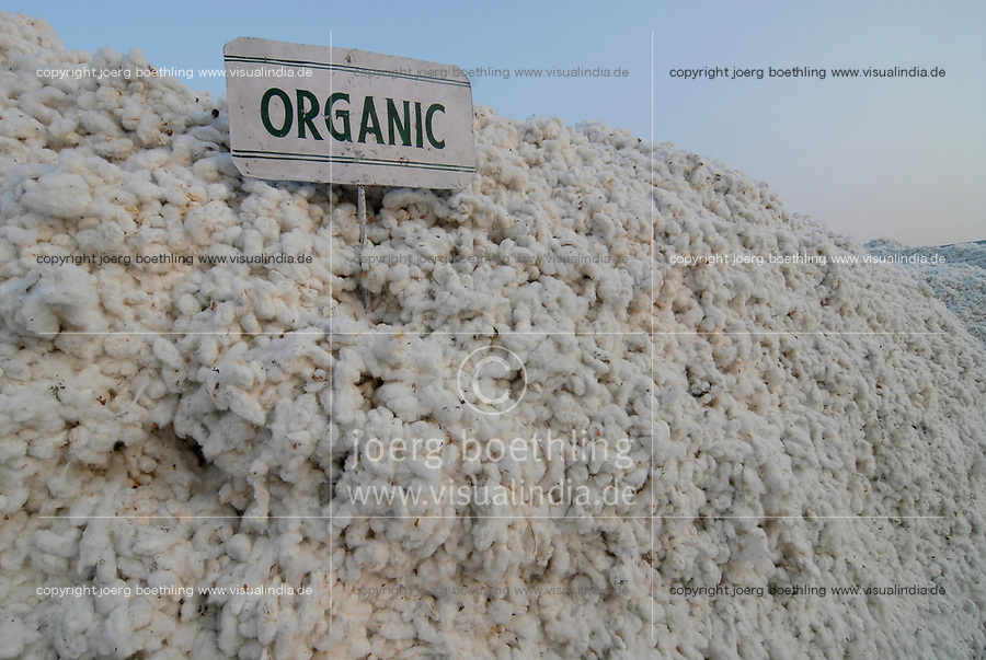 INDIA, Madhya Pradesh , Kasrawad, organic cotton project,  ginning factory, storage place outside for harvested organic cotton for further processing  / INDIEN, biore Biobaumwolle Projekt, Lagerplatz fuer geerntete Baumwolle vor der Entkernungsfabrik