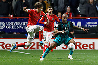 Andre Ayew of Swansea City (R) during the Sky Bet Championship match between Charlton Athletic and Swansea City at The Valley, London, England, UK. Wednesday 02 October 2019
