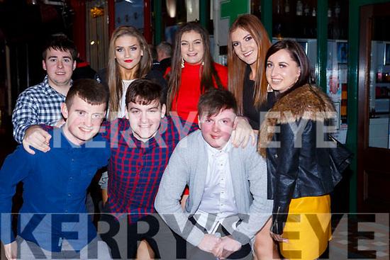 Anthony Barrett, Alan Culhane, Nigel O'Callaghan, back row: Brian o'Gorman, Sheila Fitzpatrick, Laura O'Neill, Megan Fitzgibbon and Ciara Linehan Lisselton celebrating New Years Eve in the Grand Hotel Killarney