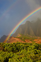 Kalalau Valley double rainbow on the Na Pali Coast of Kauai
