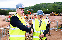 Pictured L-R: Carwyn Jones and Sir Terry Matthews. Friday 23 June 2017<br /> Re: First Minister for Wales Carwyn Jones has joined Sir Terry Matthews, Chairman of the Celtic Manor Resort; Stephen Bowcott, Chief Executive of Sisk Group Construction; and Debbie Wilcox, Leader of Newport City Council, to break ground on the site of the new ICC Wales.<br /> Around 80 invited guests from the public and private sectors of the events industry have also witnessed the ground breaking ceremony which marks the official start of the construction of the new venue, due to open in 2019.<br /> The dignitaries will use commemorative spades to symbolically dig the first ground on the new site, marking the start of building work in earnest.