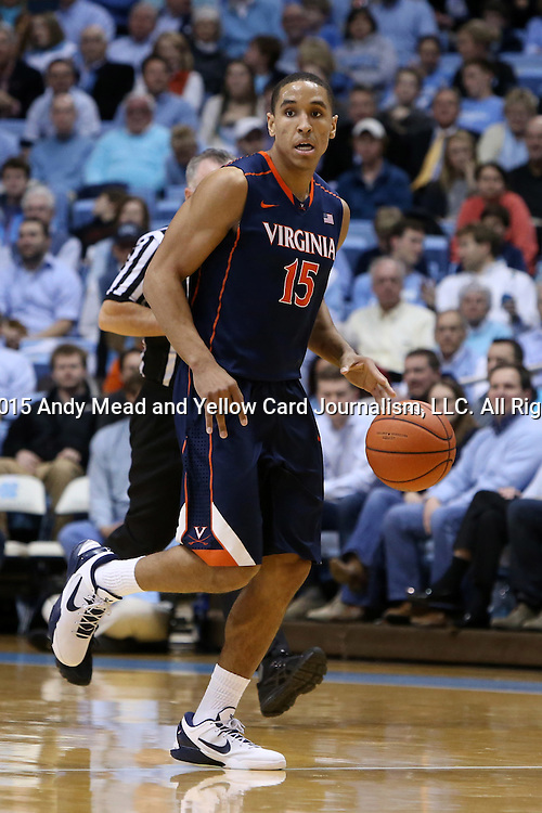 02 February 2015: Virginia's Malcolm Brogdon. The University of North Carolina Tar Heels played the University of Virginia Cavaliers in an NCAA Division I Men's basketball game at the Dean E. Smith Center in Chapel Hill, North Carolina. Virginia won the game 75-64.