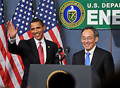 Washington, D.C. - February 5, 2009 -- United States President Barack Obama, left, and United States Secretary of Energy Dr. Steven Chu, right, arrive at the United States Department of Energy to make remarks to employees in Washington, D.C. on Thursday, February 5, 2009..Credit: Ron Sachs / Pool via CNP