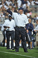 15 September 2012:  Penn State coach Bill O'Brien puts one finger in the air. The Penn State Nittany Lions defeated the Navy Midshipmen 34-7 at Beaver Stadium in State College, PA..