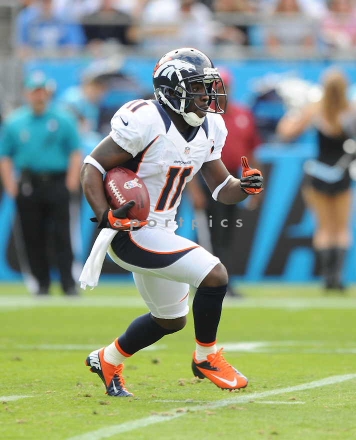 Denver Broncos Trindon Holliday (11) in action during a game against the Panthers on November 11, 2012 at Bank of America Stadium in Charlotte, NC. The Broncos beat the Panthers 36-14.