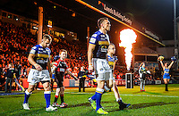 Picture by Alex Whitehead/SWpix.com - 02/10/2015 - Rugby League - First Utility Super League - Leeds Rhinos v St Helens - Headingley Carnegie Stadium, Leeds, England - Leeds captain Kevin Sinfield (R) leads his side out during his last Super League home game at Headingley.