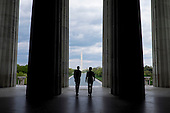 President Barack Obama and Prime Minister Shinzo Abe of Japan visit the Lincoln Memorial in Washington, District of Columbia, U.S., on Monday, April 27, 2015.  Prime Minister Abe is in the Nation's Capital to discuss a range of economic, security, and global issues, including progress on the Trans Pacific Partnership, Japan's expanding role in the Alliance, and climate change.<br /> Credit: Pete Marovich / Pool via CNP